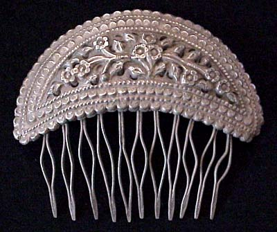 Old Burmese Silver Repousse Hair Comb